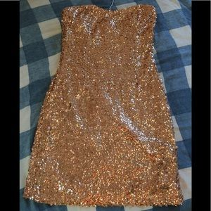 Forever 21 Gold Sequins Dress Sz S